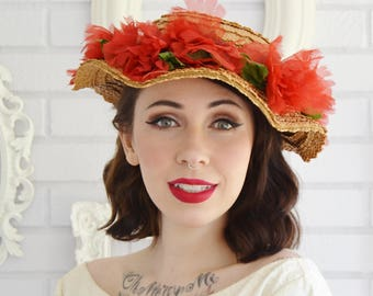 Vintage Wavy Brim Straw Hat with Red Nylon Flowers and Green Leaves