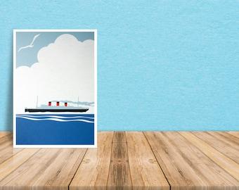Poster Across The Atlantic. Illustration Layered PaperCut Art Not Framed 29.5x42 cm