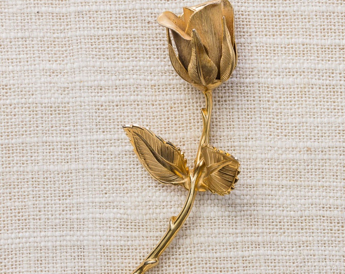 Gold Rose Brooch Flower Bud Etched Metal Giovanni Brand Vintage Broach Pin 7YY 43