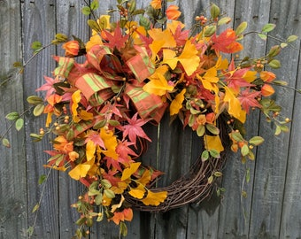 Fall Wreath, Fall Yellow Wreath, Bright Colors Fall Wreath, Designer Autumn Wreath, Fall Ginkgo, Fall Berries, Plaid Bow, Etsy Wreath