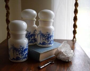 Three Vintage White Glass Apothecary Bottles - Boho / Zen / Modern