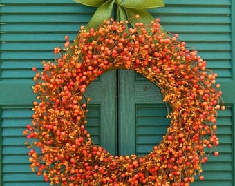 Thanksgiving Berry Wreath - Fall Door Decor - Autumn Berry Wreath