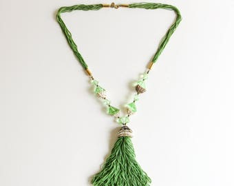 Diane Von Furstenberg Necklace / Vintage DVF Green Tassel Necklace with Shells