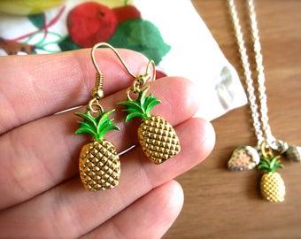 Gold & Green Pineapple Charm Earrings-CHOOSE Ear Hooks or Necklace-Tropical Earrings-Beach, Hawaiian Jewelry-Gold Pineapple-Summer Fashion
