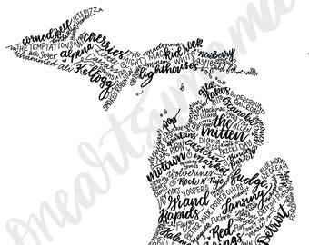 Hand Lettered Michigan State Art - DIGITAL DOWNLOAD