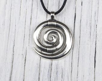 Black Friday, Spiral Necklace, Swirl Necklace, Sale, Yoga Spiral Necklace, Spiral Jewelry, Journey of Life, Symbol Necklace, Gift for Her