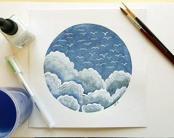 Original watercolor painting Sky art Clouds Birds flight Blue white wall decor 8x8 inches