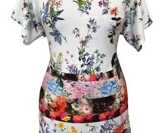 Plus Size Floral Shirt, Tunic Shirt, White Floral Shirt, V Neck Shirt, Short Sleeves Shirt, Bat Sleeves, Summer Shirt, Designers Shirt