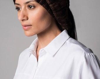 Knit merino wool scarf, Hoodie Organic scarves gradient yarn dyed texture, Melange Textile fibers  No synthetics