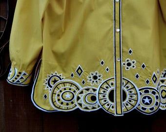 Vintage 1980's Bob Mackie Wearable Art Yellow Shirt with Embroidery, Bob Mackie, Designer Shirt