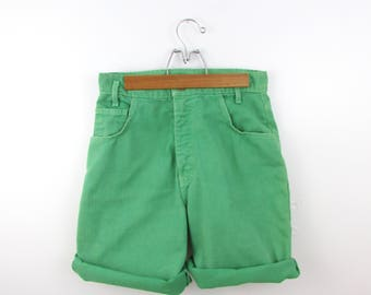 Jade Green High Waisted Denim Shorts - Vintage 1980s Jean Shorts in Small