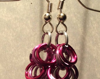 Silver & Pink Chainmaille Earrings