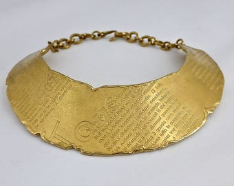 Vintage BICHE DE BERE Wide Modernist Statement Gold Choker