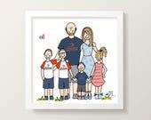 Detailed custom family portrait drawing illustration (digital JPEG)