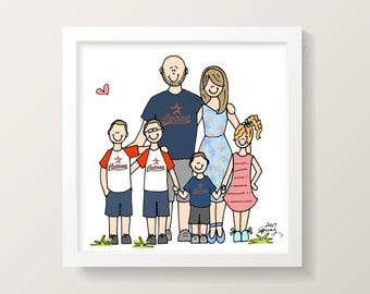 Detailed custom family portrait drawing illustration (digital JPEG)
