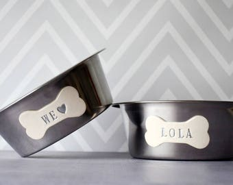 Large Dog Bowls - Personalized Set of Stainless Steel Bowls