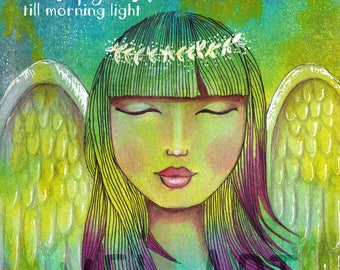 May Angels Guard you through the night,and keep you safe till morning light - Guardian Angel, colorful mixed media painting, mixed media art