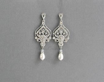 Bridal Earrings, Wedding Earrings, Swarovski Pearl and Rhinestone Chandelier Earrings,Rose Gold,Gold,Victorian Wedding Bridal Jewelry, LANA