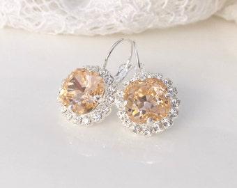 Peach Earrings Peach Blush Bridal Peach Wedding Peach Bridesmaids Peach Swarovski Crystal Light Apricot Peach Blush Bridal Silver Earrings