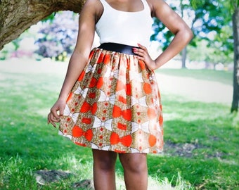 FARAI Elasticated Knee Length Skirt in African Print, Ankara Skirt, African Fashion, African Clothing by Afrocentric805