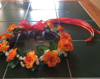 Hawaiian style beach flower girl bridal party hair wreath halo headpiece crown ivory orange purple turquoise pink cerise yellow red