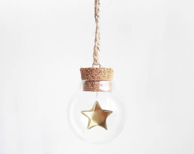 Tiny bauble with a mini gold paper origami star - Christmas tree decoration - Christmas ornaments - ornaments and accents