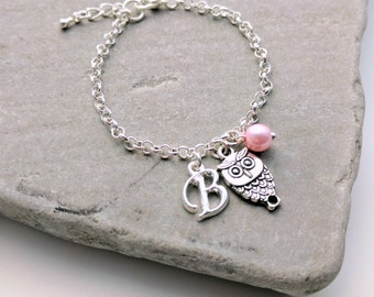 Owl Bracelet or Owl Necklace, Personalised Owl Jewellery, Owl Charm Bracelet, Owl Charm Necklace, Owl Jewellery, Owl Jewelry
