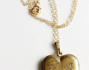 Vintage Heart Locket Necklace, Gold Filled Locket, Engraved Flowers, Love Token, Circa 1940's