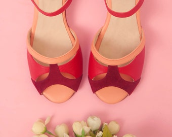 Romance Cherry  - Sandals in red, peach leather and red suede - Handmade in Argentina - Free shipping