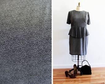 Plus Size - Vintage Black & White Polka Dot Peplum Dress (Size 20)