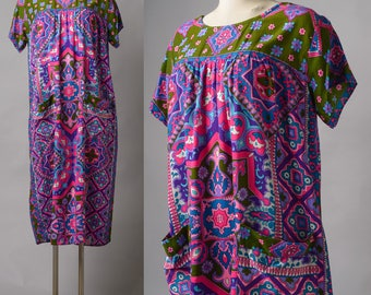 Vintage Dress, Vintage 70s Dress, Vintage boho dress, 70s Bohemian Dress, Hippie Dress, Vintage moo moo dress, Vintage house dress - XL