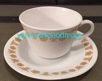 Corelle Butterfly Gold Cup & Saucer, Corelle Livingware Butterfly Gold, Corning Butterfly Gold Cup And Saucer