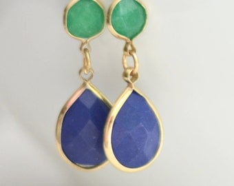 Preppy Hunter Green and Sapphire Blue Round and Teardrop Double Dangle Gold Earrings. Bridesmaids Jewelry. FREE SHIPPING. Fashion Earring