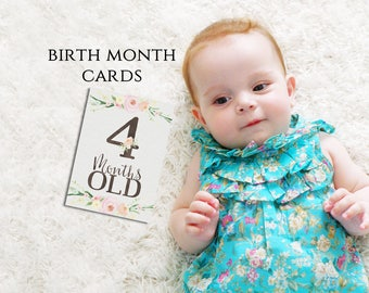 """Monthly Age Photo Prop Cards - 5x7"""" Digital Printables - Keepsake Baby - Set of 12 - 1 Month to 1 Year - Milestone Age Cards - Floral"""