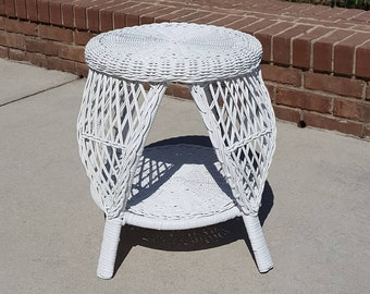 Awesome Wicker Side Table* Round Wicker Table WShelf* Small Wicker Table Smart  Design*Sm