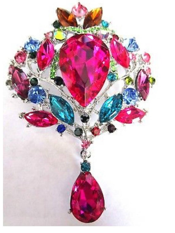 Gorgeous Fruit Salad Glass Rhinestone HUGE Pin