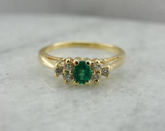 Classic Emerald Diamond Yellow Gold Ring, Emerald Engagement Ring FC4E9Z-R