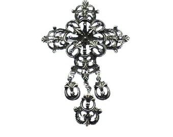 Large Silver Cross Brooch, Large Silver Dangle Brooch, Large Silver Brooch