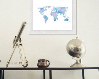 World Map wall art World map painting Map Art World map print World map watercolor painting of the world Watercolor map blue pink purple