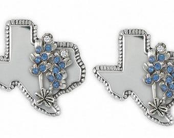 Bluebonnet Cufflinks Jewelry Sterling Silver Handmade Texas Wildflower Cufflinks BBD-TXCL