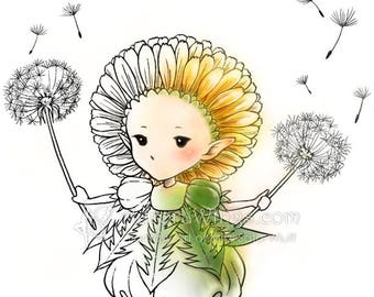 Digital Stamp - Dandelion Sprite - Whimsical Dandelion Fae with Puffs - Fantasy Line Art for Cards & Crafts by Mitzi Sato-Wiuff