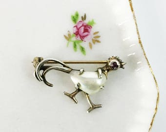 Vintage / Antique Silver Bird Brooch - Vintage Pin w/ Mother of Pearl & Pjnk Sapphire - Small Unique Silver Retro Pin Roadrunner / Chicken