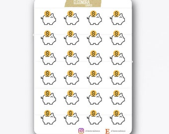 Stickers Piglet Piggy Bank | Money | Savings | S004