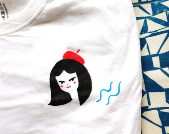 Beret Girl S Hand Painted T-Shirt by Marianna Madriz