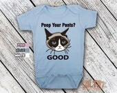 Cat That's Mad and Grumpy Poop Your Pants Good Baby Bodysuit or Toddler Shirt