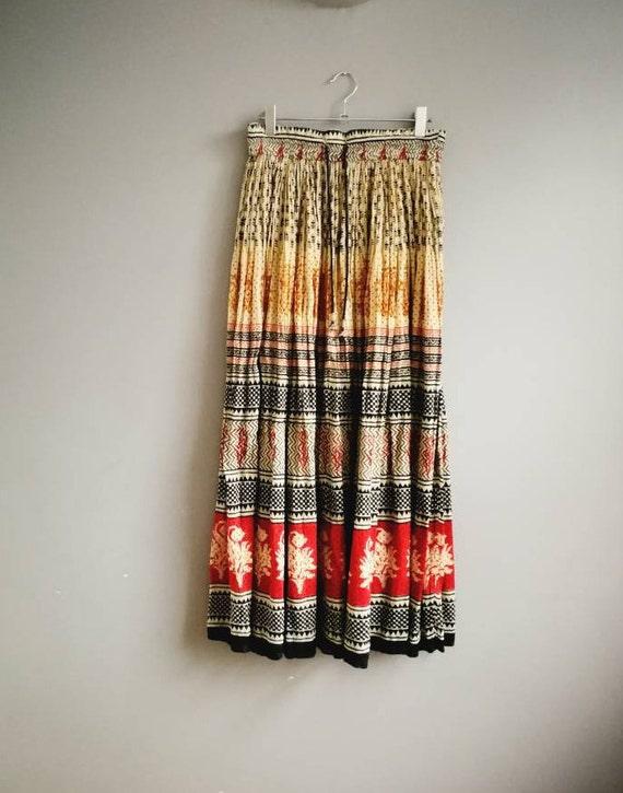 Indian Gauze Skirt / Adini skirt / crinkly boho skirt / Adini cotton maxi skirt / long hippie skirt / drawstring long cotton skirt