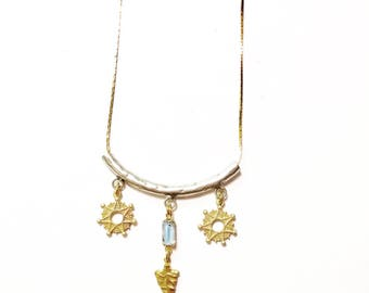 Celestial Dreams Necklace with Star Charms, Vintage Blue Glass Connector, and Gold Arrowhead Charm
