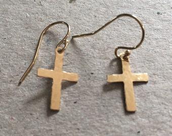 Gold Cross Dangle Earrings, Gold Filled Earrings, Yellow Gold Jewellery, Minimalist Gold Jewellery, Gold Crucifix Earrings, Gold Earrings