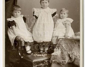 Cabinet Card Photo - 3 Young Victorian Girls / Boys in Dresses (?) Standing on Chair Lace Gowns - Bennet & Sons of Worcester Malvern England