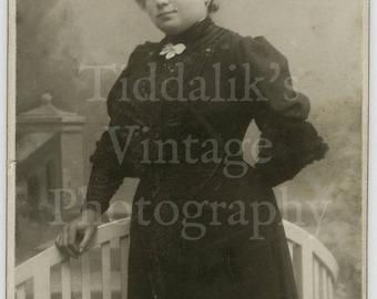 CDV Carte de Visite Photo Victorian Pretty Woman, Hair Up, Puff Sleeve Dress Portrait - Antwerp Belgium - Antique Photograph